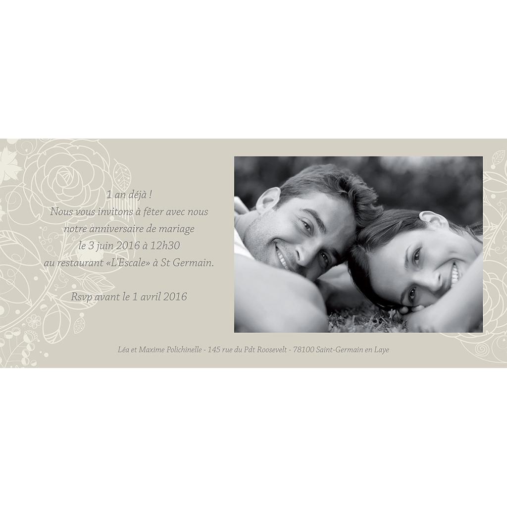 Carte anniversaire de mariage Mariage ivoire  gratuit