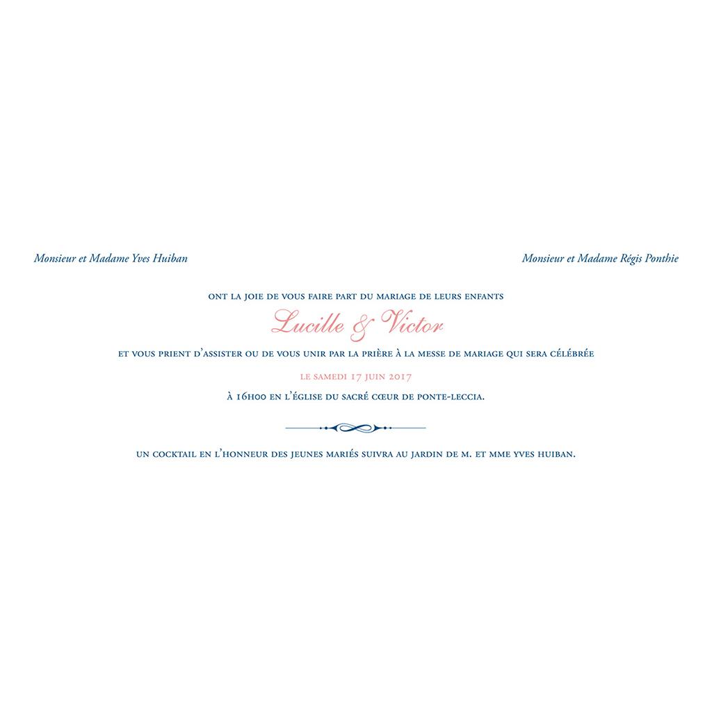 Faire-part de mariage Rose et Bleu