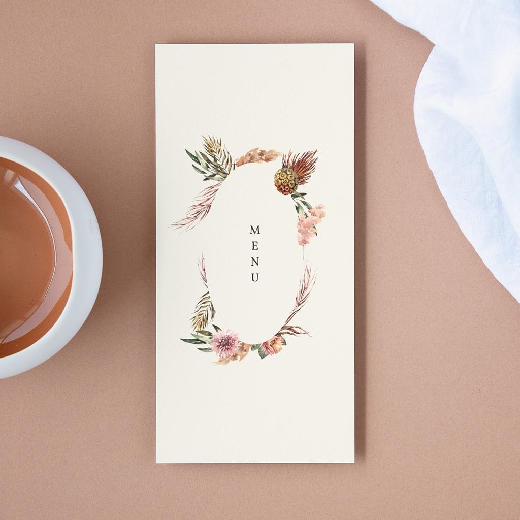 Menu mariage Médaillon Floral, 10 x 21 cm
