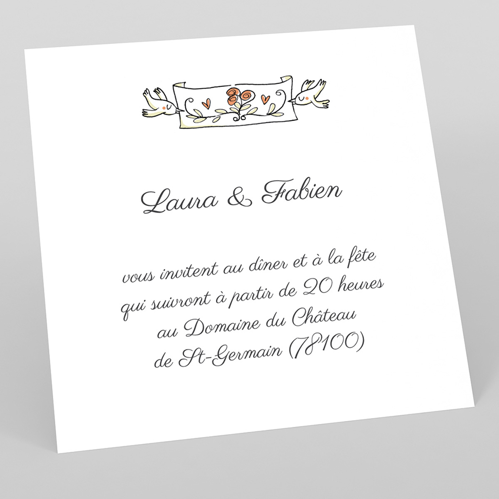 Carte d'invitation mariage Sidecar