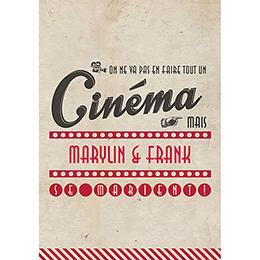 Menu mariage Cinéma Vintage  pas cher