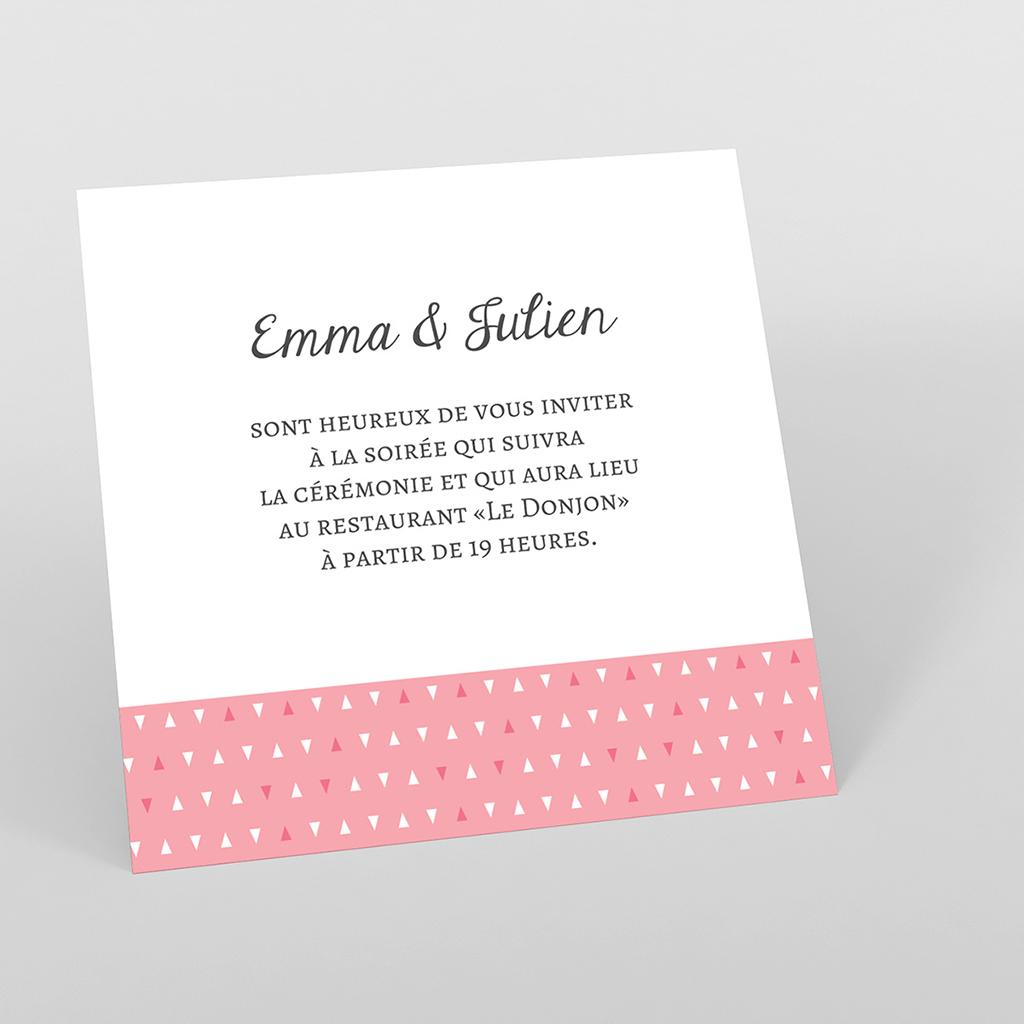Carte d'invitation mariage Graphic rose