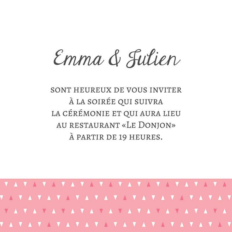 Carte d'invitation mariage Graphic rose  pas cher