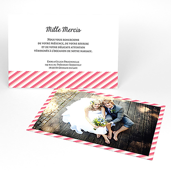 Carte de remerciement mariage Graphic rose