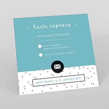 Carton réponse mariage Graphique Noir et Blanc