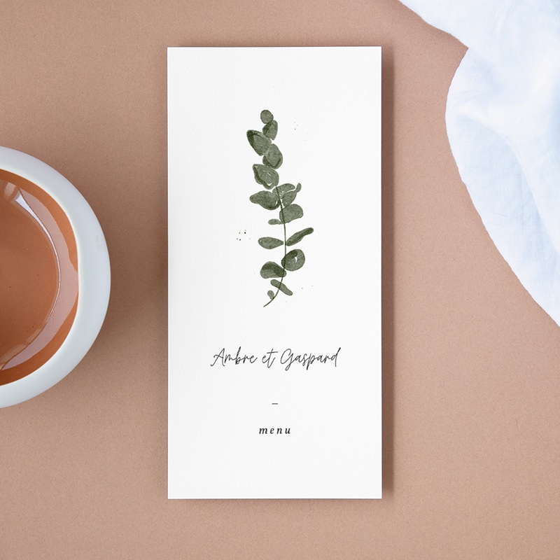 Menu mariage Eucalyptus Herbarium, repas des mariés