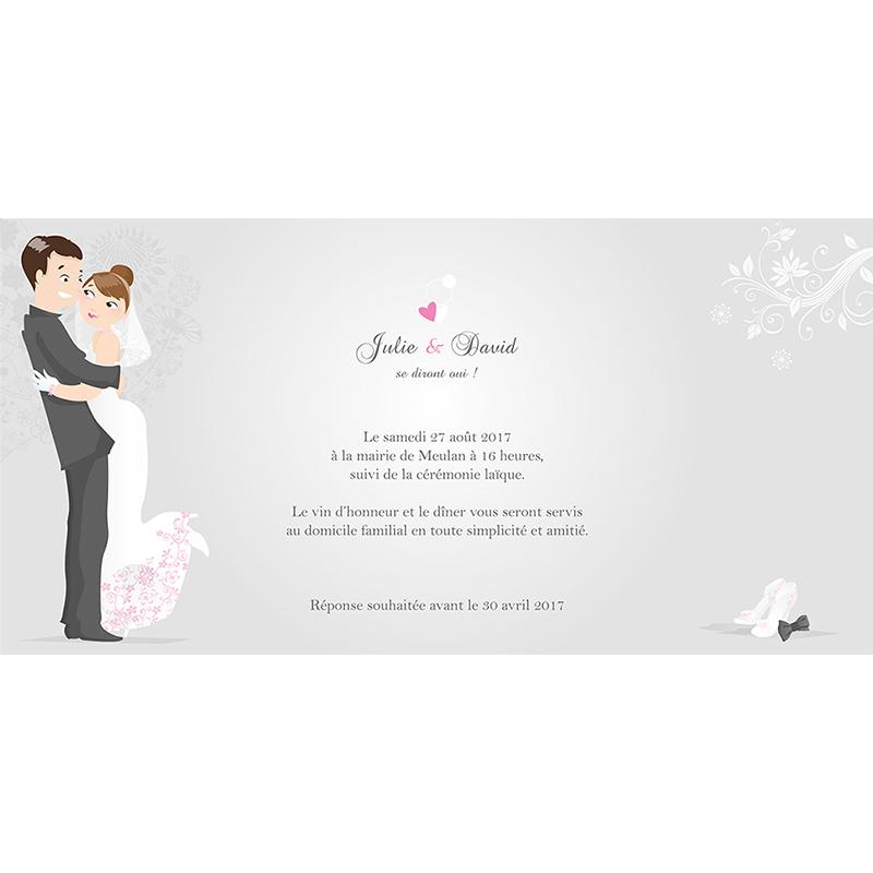 Faire-part de mariage Youpi gris tryptique gratuit