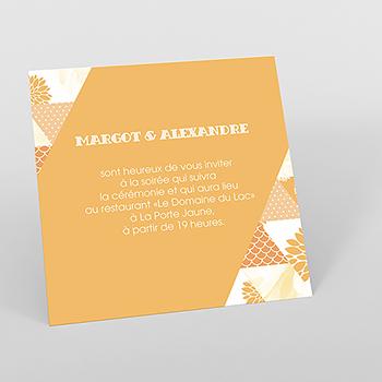 Carte d'invitation mariage Origami jaune
