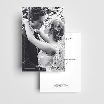 Carte de remerciement mariage Pure Elégance