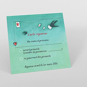 Carton réponse mariage Tendre espièglerie gris vert