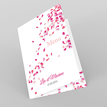 Menu mariage Pétales rose