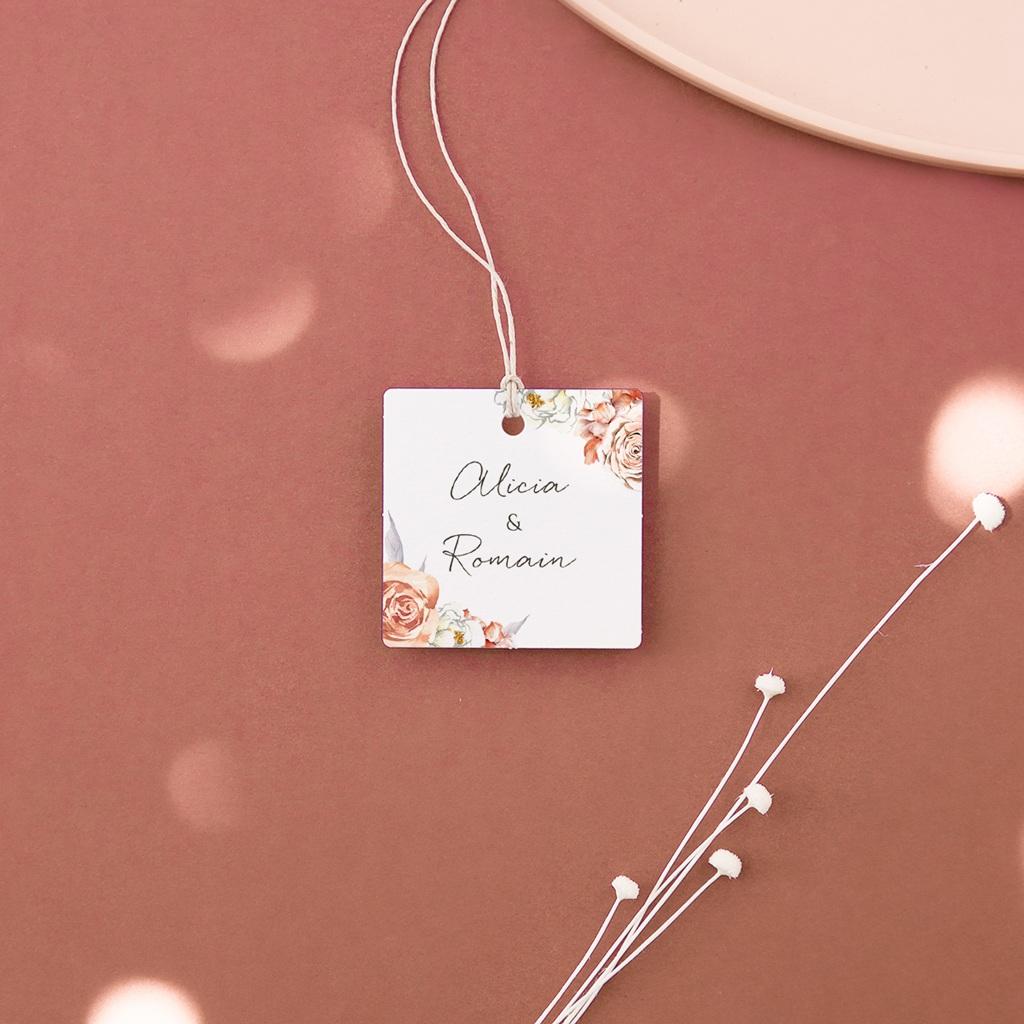 Etiquettes cadeaux mariage Arche de roses caramel, Souvenir Invité