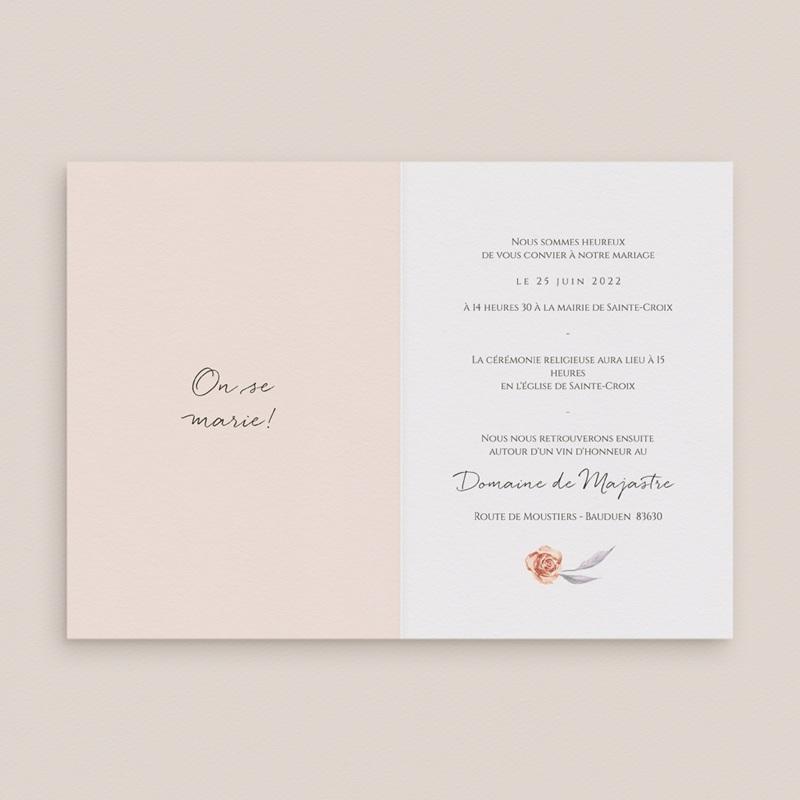 Faire-part de mariage Arche de roses caramel, 2 volets 12 x 17 cm pas cher