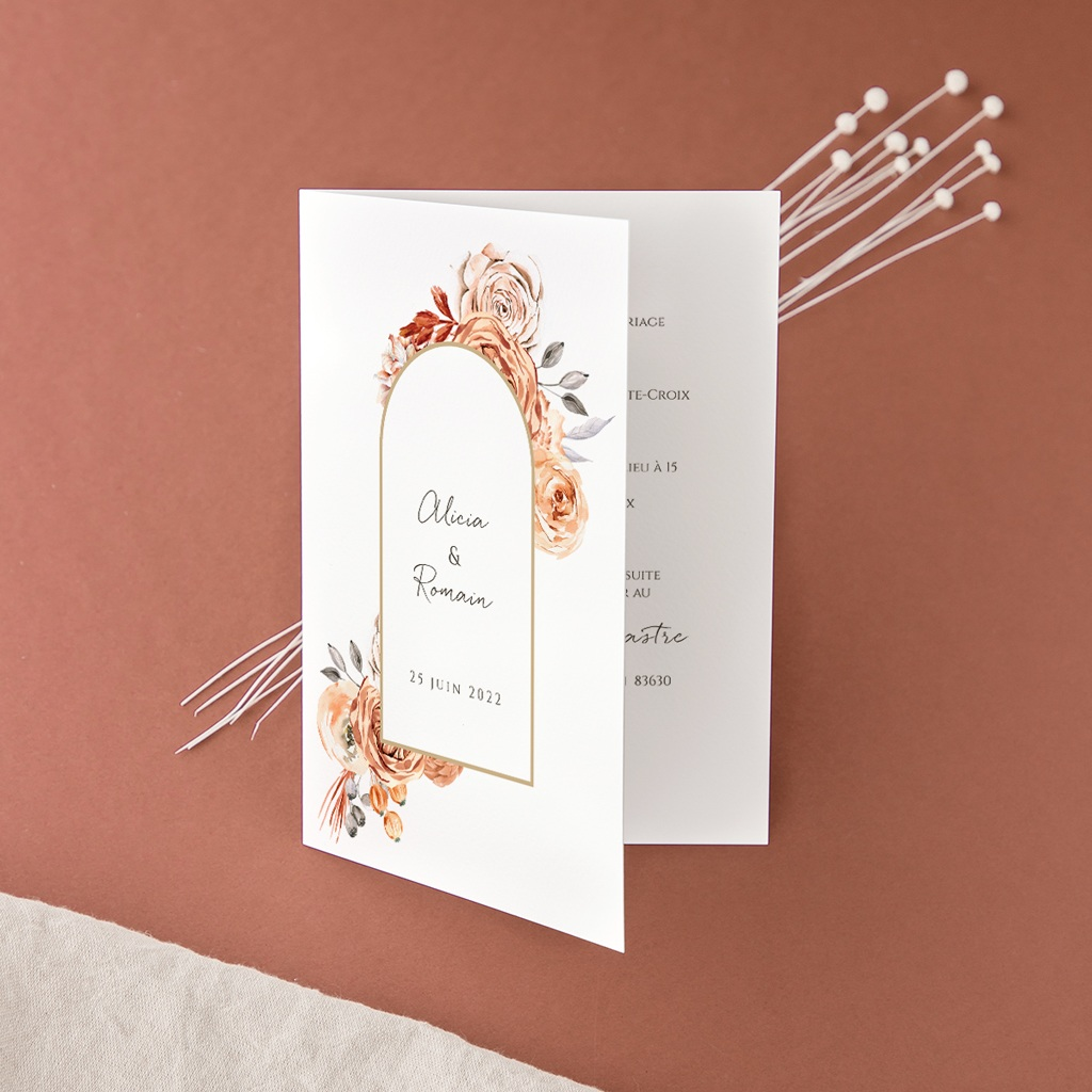 Faire-part de mariage Arche de roses caramel, 2 volets 12 x 17 cm