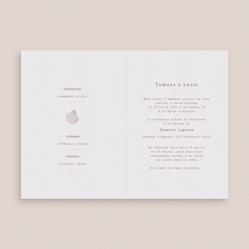 Faire-part de mariage Coquillages & coraux Aquarelle, 12 x 17 cm pas cher