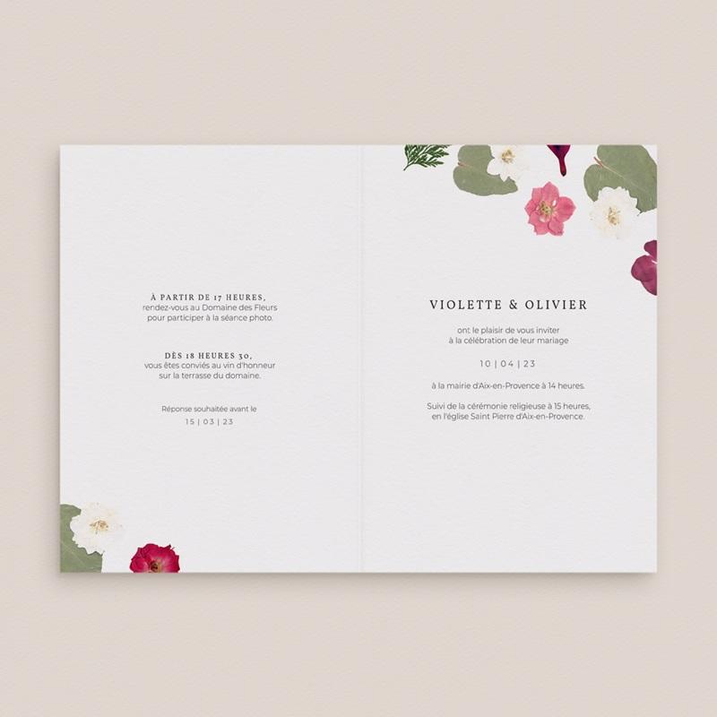 Faire-part de mariage Romance Florale, 2 volets, 12 x 17 cm pas cher