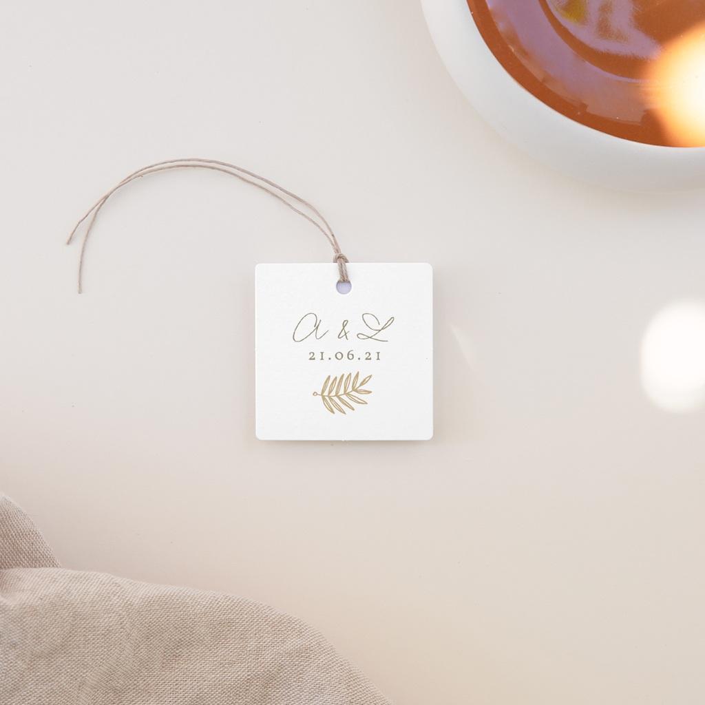 Etiquettes cadeaux mariage Diadème Doré, 4,5 x 4,5 cm
