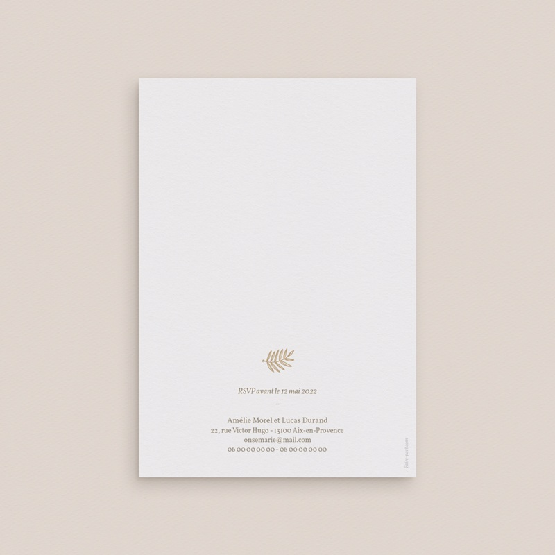 Faire-part de mariage Diadème Doré, 12 x 17 cm gratuit