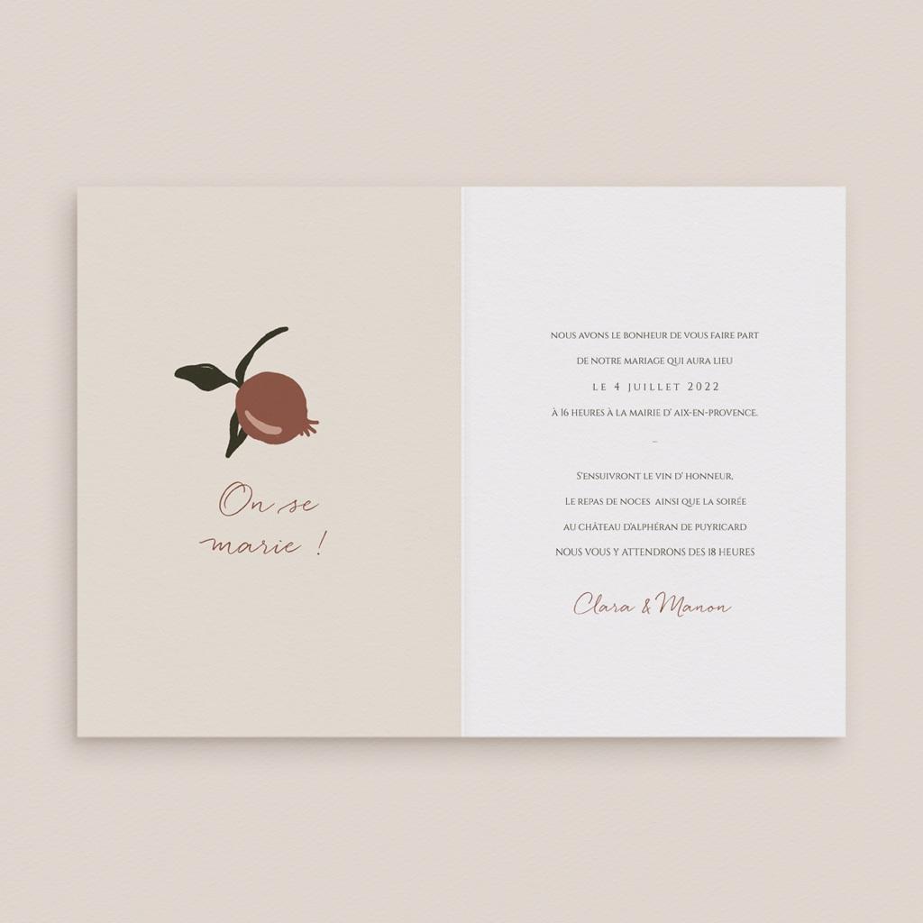 Faire-part de mariage Grenades Terracotta, 2 Volets, 12 x 17 cm pas cher