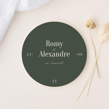 Faire-part de mariage Typographie & Couleur, Rond, 14 cm