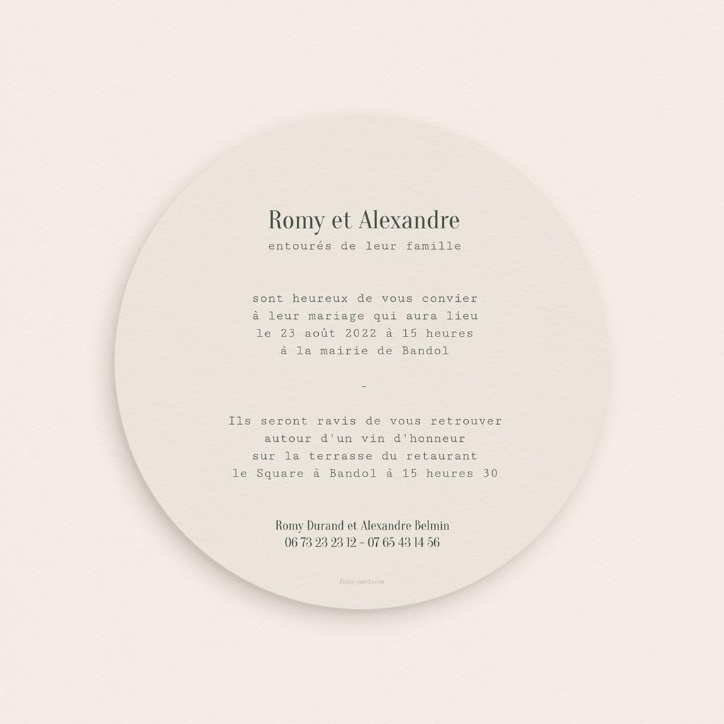 Faire-part de mariage Typographie & Couleur, Rond, 14 cm pas cher