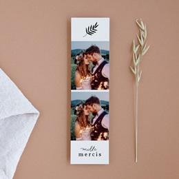 Carte de remerciement mariage Brins minimalistes, noir & blanc, 5,5 x 21 cm
