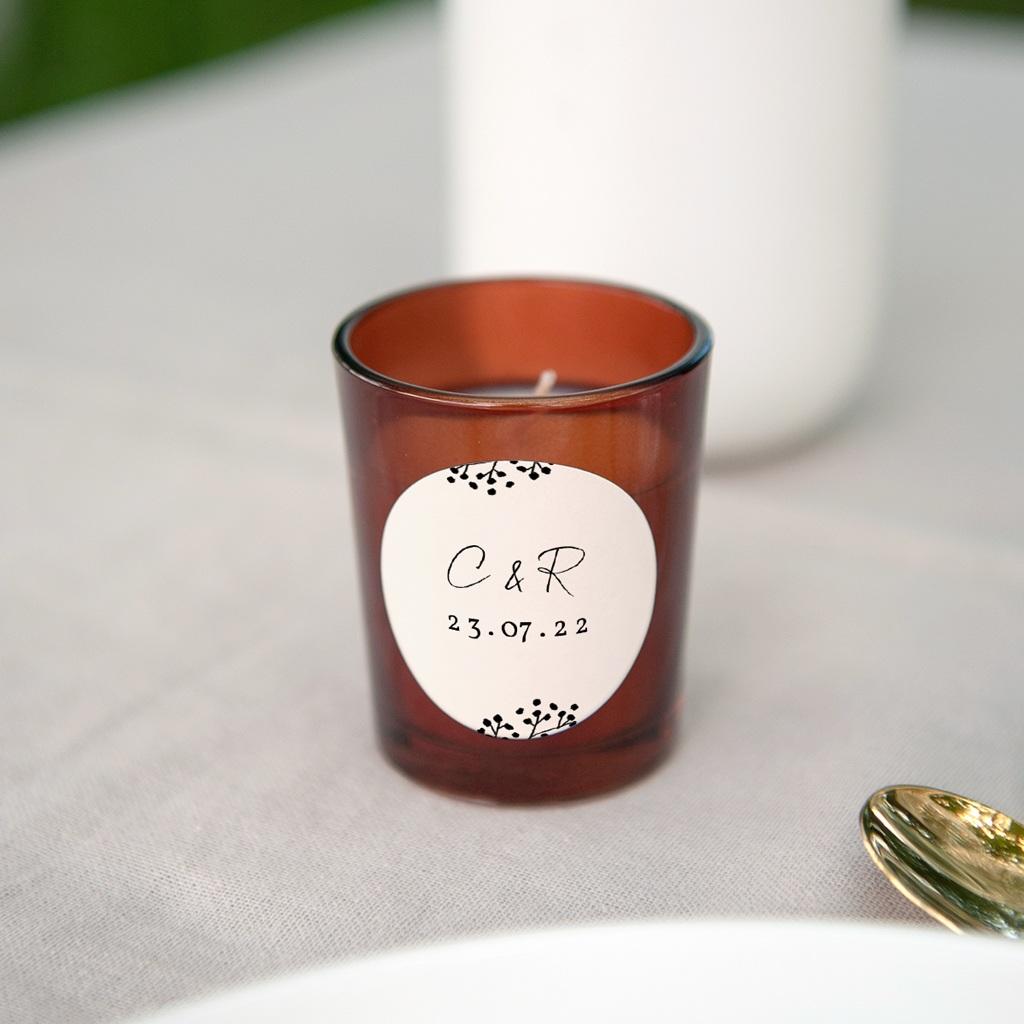 Etiquette enveloppes mariage Couronne végétale monochrome, Ø 4,5 gratuit