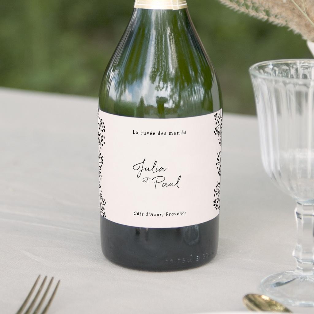 Etiquette bouteille mariage Brins minimalistes, noir & blanc, 13 x 8