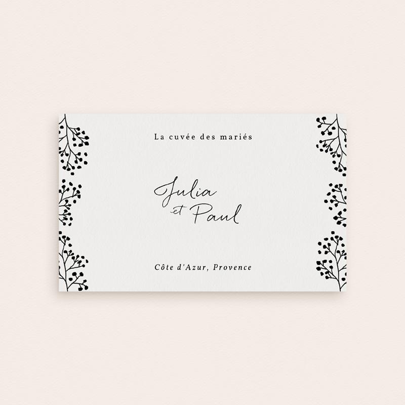 Etiquette bouteille mariage Brins minimalistes, noir & blanc, 13 x 8 pas cher