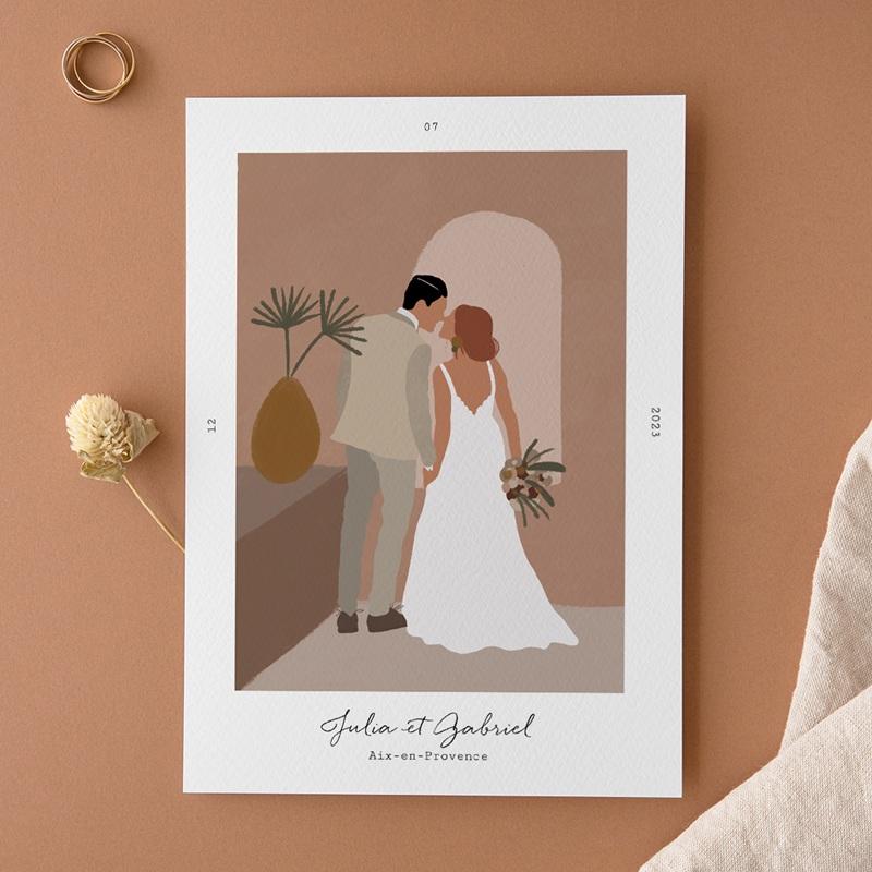 Faire-part de mariage Duo de Palmiers & Terre Cuite, 15 x 21 cm
