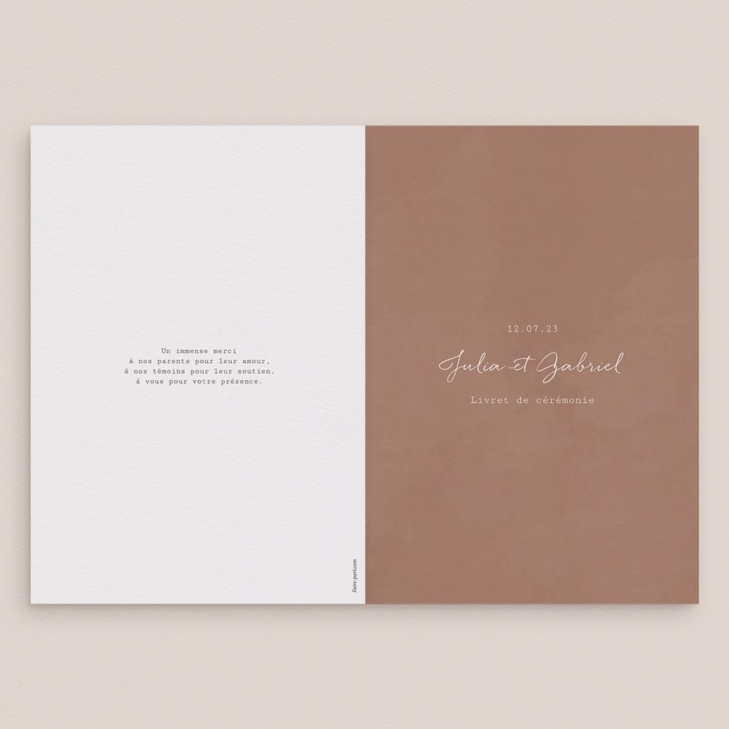 Livret de messe mariage Duo de Palmiers & Terre Cuite, Couverture 15 x 22 cm gratuit
