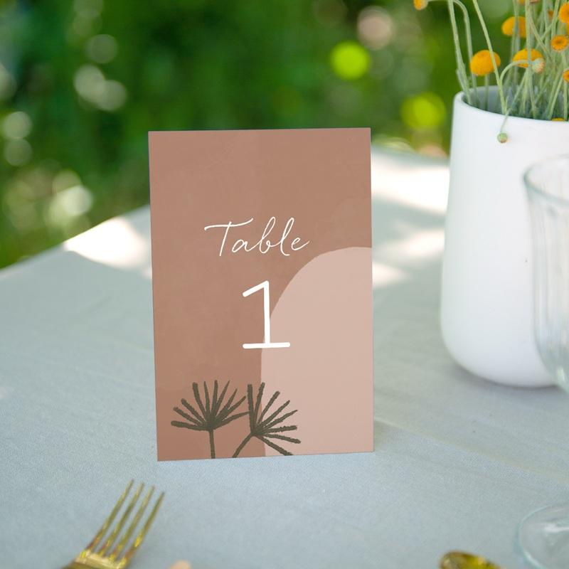 Marque table mariage Duo de Palmiers & Terre Cuite, Lot de 3