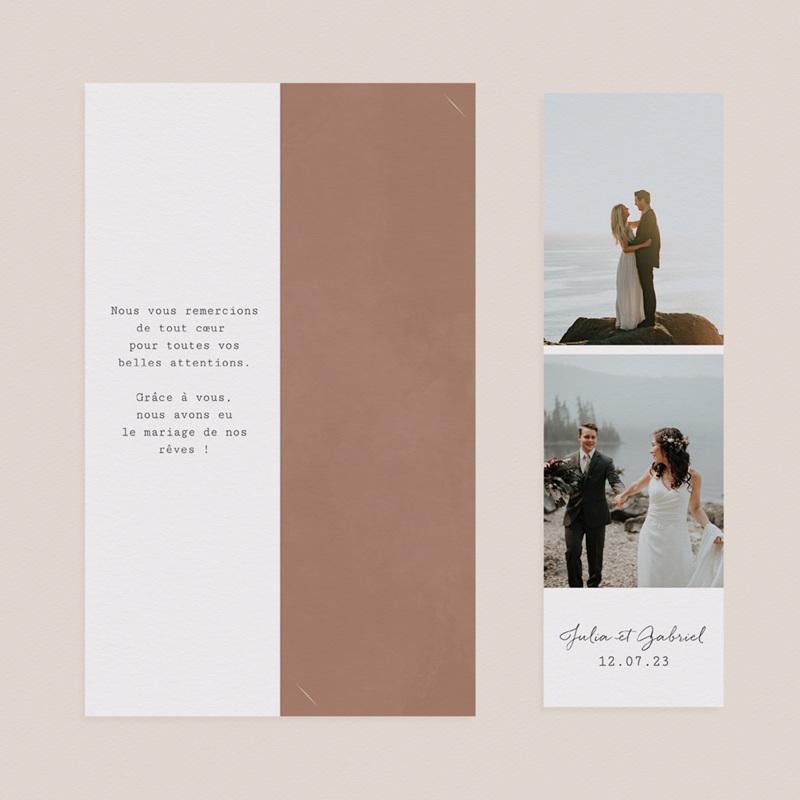 Carte de remerciement mariage Duo de Palmiers & Terre Cuite, 2 en 1 pas cher