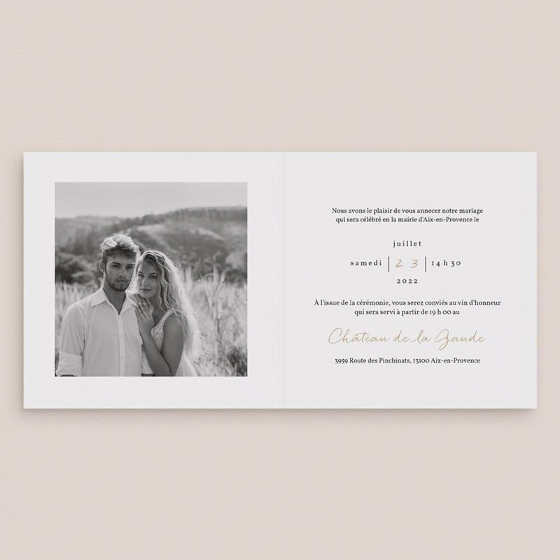 Faire-part de mariage Couronne végétale monochrome pas cher