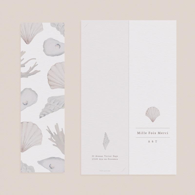 Carte de remerciement mariage Coquillages épurés, 2 en 1