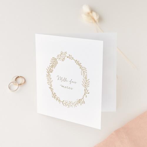 Carte de remerciement mariage avec dorure
